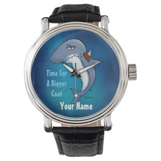 Hora para un reloj divertido del tiburón azul de