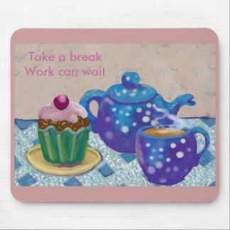 Hora para una rotura de té tapete de ratones