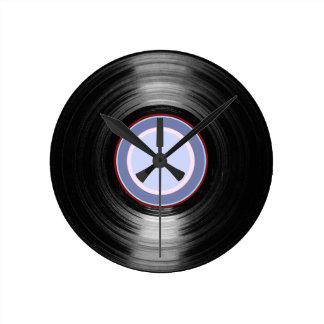 hora retra del disco de vinilo reloj de pared
