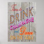 Hora rústica de beber el poster de Champán