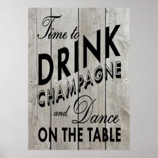 Hora rústica de beber el poster negro de Champán