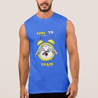 Hora sin mangas azul de entrenar a la camiseta playeras sin mangas