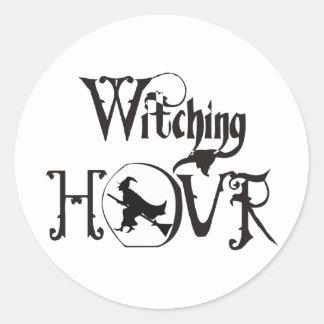 Hora Witching Pegatina Redonda