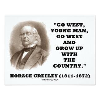 """Horacio Greeley va el hombre joven del oeste va al Invitación 4.25"""" X 5.5"""""""