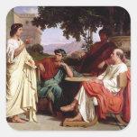 Horacio, Virgil y Varius Pegatina Cuadrada