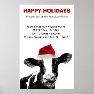 Horario comercial de la granja lechera de la vaca  poster