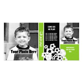 Horario del deporte de la foto del fútbol tarjeta fotografica