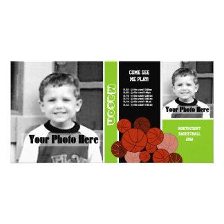 Horario del deporte del baloncesto tarjetas fotograficas personalizadas