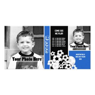 Horario del deporte del fútbol tarjetas fotograficas personalizadas