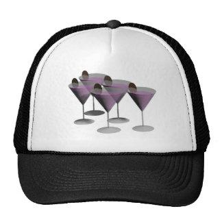 horas del cóctel de los vidrios de martini gorra