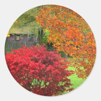 Horas del otoño pegatinas redondas