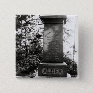 Horatio Alger's grave in Natick, Massachusetts Button