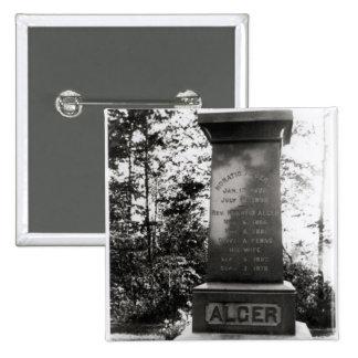 Horatio Alger's grave in Natick, Massachusetts 2 Inch Square Button