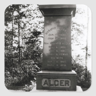 Horatio Alger's grave in Natick, Massachusetts Square Sticker