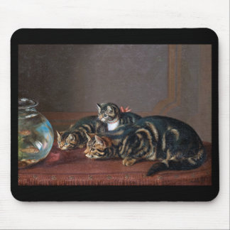 """Horatio Henry Couldery, """"Cats by a fishbowl"""" Mouse Pad"""