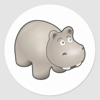 Horatio the Heroic Hippo Cute Cartoon Animal Classic Round Sticker
