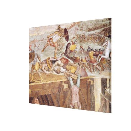 Horatius Cocles on the Sublician Bridge Canvas Print