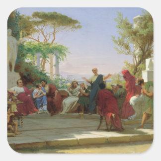 Horatius que lee sus sátiras a Maecenas, 1863 Pegatina Cuadrada