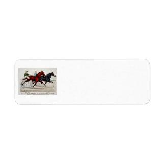 horce racing chariout return address label