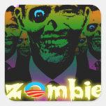 Horda asustadiza del zombi de Obama del relámpago Calcomania Cuadradas