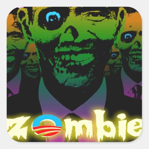Horda asustadiza del zombi de Obama del relámpago Pegatina Cuadrada