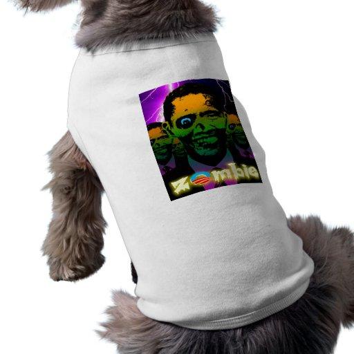 Horda asustadiza del zombi de Obama del relámpago Camisa De Mascota