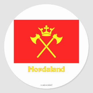 Hordaland flag with name classic round sticker