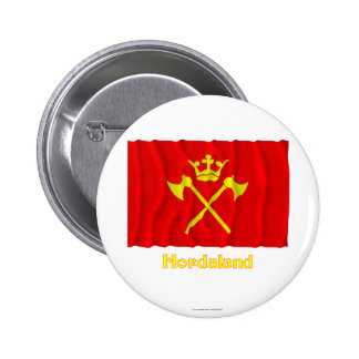 Hordaland waving flag with name 2 inch round button