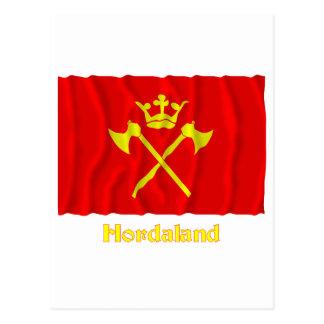 Hordaland waving flag with name postcard