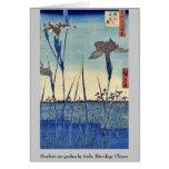 Horikiri iris garden by Ando, Hiroshige Ukiyoe Greeting Cards