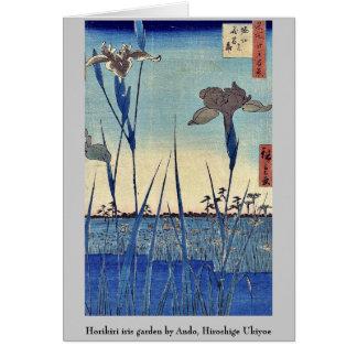 Horikiri iris garden by Ando, Hiroshige Ukiyoe Stationery Note Card