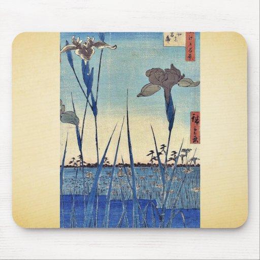 Horikiri iris garden by Ando, Hiroshige Ukiyoe Mouse Pad