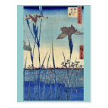 Horikiri iris garden by Ando, Hiroshige Ukiyoe Postcard
