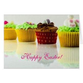 "Horiz. - ""Happy Easter"" Cupcakes Card"