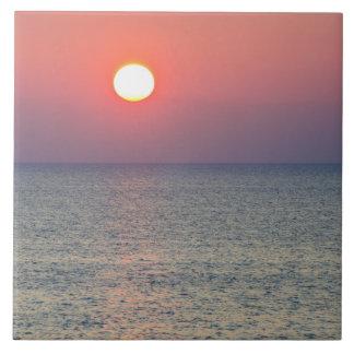 Horizon at sunset, Aegean Sea, Turkey Tile