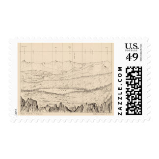 Horizon sketch from Tallac Peak, Cal Postage Stamp