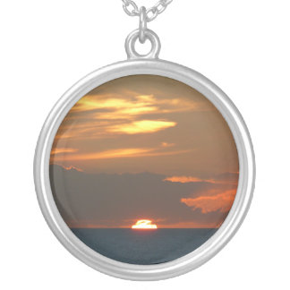 Horizon Sunset Colorful Seascape Photography Silver Plated Necklace