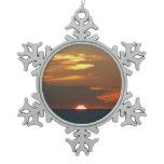Horizon Sunset Colorful Seascape Photography Snowflake Pewter Christmas Ornament