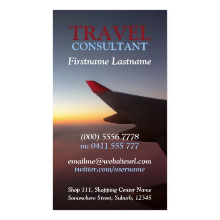 Plane Wing in the Sky Beautiful Sunset Aviation Business Cards