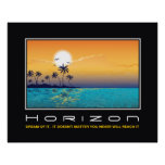 Horizon tropical sunset palm trees motivational posters