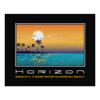 Horizon tropical sunset palm trees motivational poster