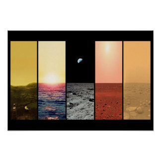 Horizon view of venus earth moon mars titan poster