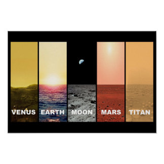 Horizon view of venus earth moon mars titan poster