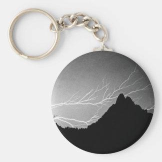 Horizonal Lightning Storm BW Keychain