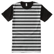 Horizontal Black and White Stripe Pattern All-Over-Print T-Shirt