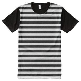 e5c471d978 Horizontal Black and White Stripe Pattern All-Over-Print T-Shirt