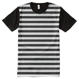 Horizontal Black and White Stripe Pattern All-Over Print T-shirt