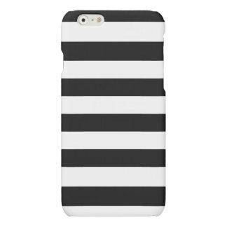 Horizontal Black and White Stripe Pattern Matte iPhone 6 Case
