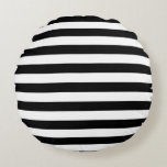 Horizontal Black and White Stripe Pattern Round Pillow