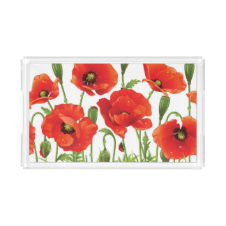 Horizontal border with red poppy rectangle serving trays